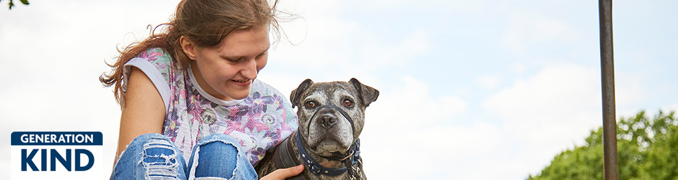 RSPCA Paws for Change participant with rescue dog